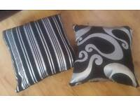 5 x Black & Silver Cushion Covers (Stripe/Patterned)