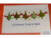 Cinnamon Cat Christmas (Xmas) Trees Cross Stitch Kit, Ref: # K608