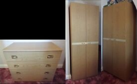 Chest of Drawers and Two Wardrobes - Matching Set