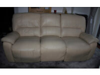 BEIGE LEATHER 3 SEATER SOFA , 2 RECLINING . GOOD CONDITION £ 200