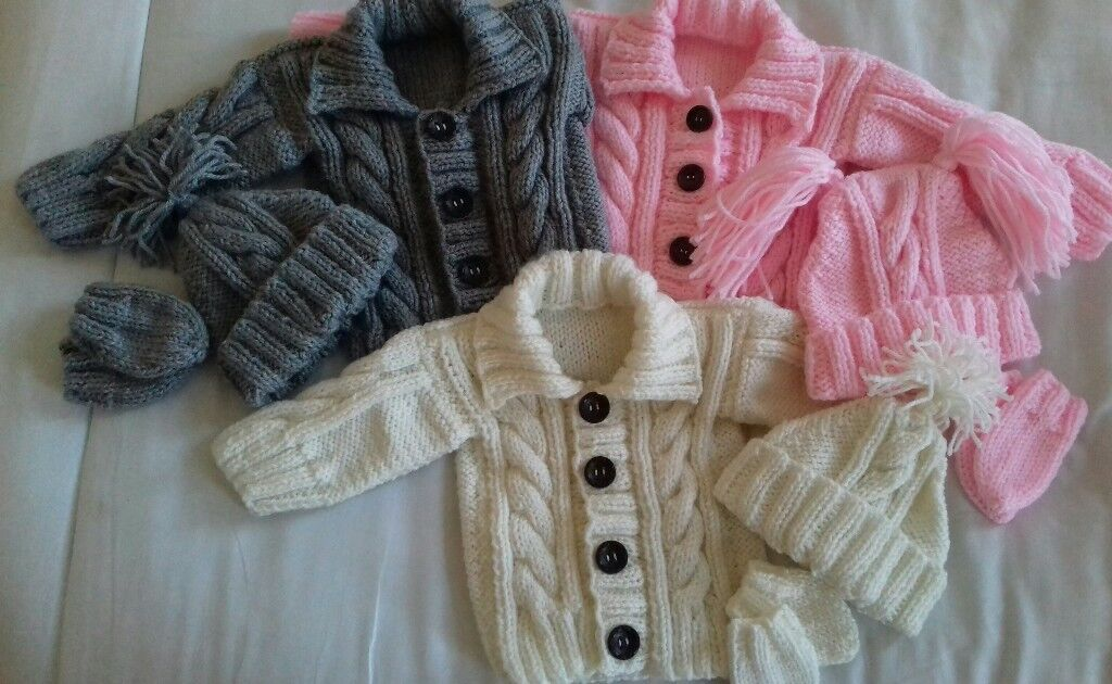 5a6d02a25 brand new hand knitted baby aran cardigan sets