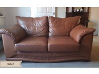 2 Seater sofas in brown leather ( 2 used sofas for sale)