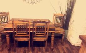 Solid Indian wood dining table 4 chairs