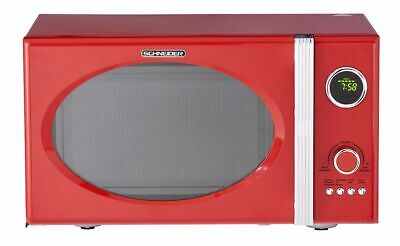 Schneider Microondas Rojo Retro 800W Parrilla 1000W 23L Cromo Fuego Shabby Chic