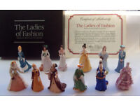 12 FRANKLIN MINT LADIES OF FASHION FIGURINES PORCELAIN MINIATURES