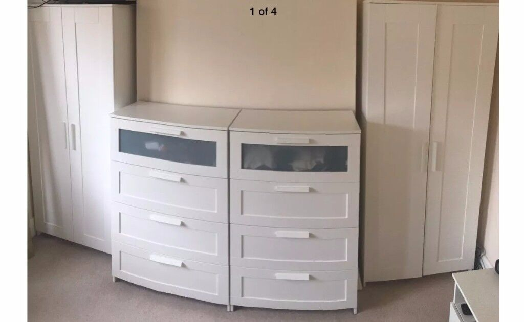 Ikea Brimmes Bedroom Furniture Set 2x Wardrobes 2x Chest Drawers 2x Bedside