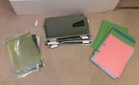 Hanging files, A4 plastic sleeves, cardboard folders