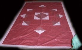 Handmade Cotton Throwover Quilted Single Bed Cover.
