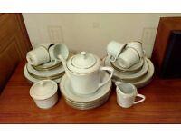 32 piece china tea/ dinner set - white with gold trim