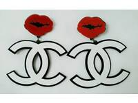 HUGE! 8cm wide White & Black Chanel Acrylic Red Lip CC Earrings Brand new