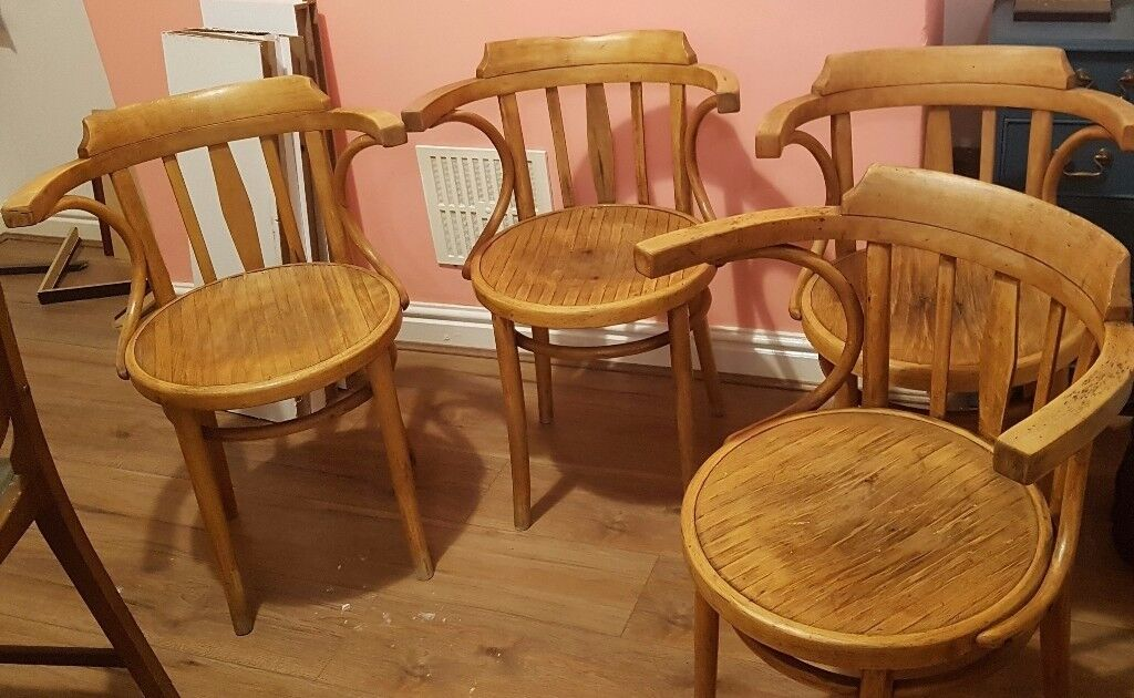 Four Vintage Rustic Kitchen / Dining Chairs. Polish Bentwood Furniture  Industry. £80.