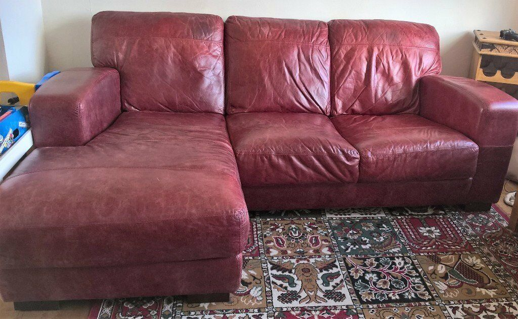 L Shaped Cherry Red Leather Sofa