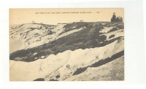 early-Gay-Head-Cliffs-and-Light-MA-unused-post-card