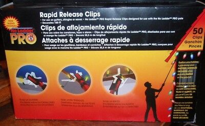 50 No Ladder Pro Rapid Release Clips - Christmas Lights Gutters/Shingle/Eaves ()