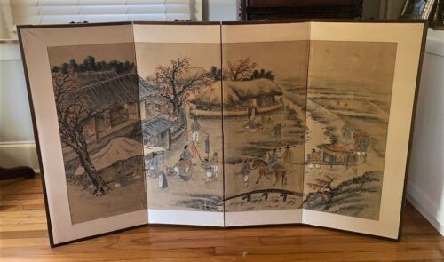 Antique Korean Linen & Paper Folk Art Landscape Village Wedding Painting Screen