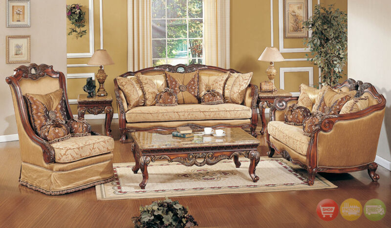 Sofa Loveseat & Chair 3pc Traditional Formal Living Room Set Exposed Wood Frame