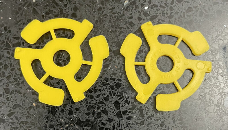 """2 New Yellow 45 RPM Plastic Adapters 7"""" Vinyl Record 📦 FREE SHIPPING 📦"""