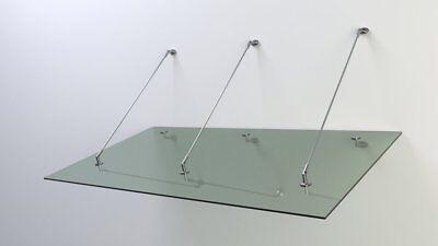 Haustür Edelstahl Glas Vordach 2,6 x 1,1m 14 mm VSG