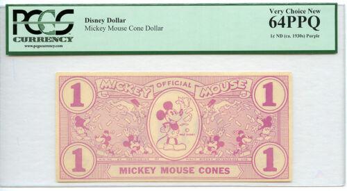 1933 MICKEY MOUSE CONES DOLLAR RED PCGS 64 PPQ VERY CHOICE NEW Walt Disney RARE