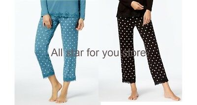 Alfani Pajama Pants Pin Dot Lace-Trim Printed Pajama Pants S, L