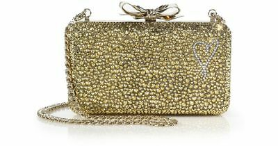 $3295 CHRISTIAN LOUBOUTIN 'Fiocco' Embellished Clutch Bag Gold w/ Crystals - NEW