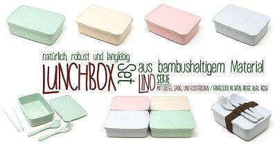 Lunch-box-dose (Brotdose Brotbox Lunchbox Dose Bambus Set mit Besteck BIO ECO Verschiedene Farbe)