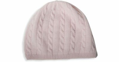 NWT Portolano 100% Cashmere Cable Knit Hat Beanie one size  Soft Pink Cashmere Cable Knit Hat