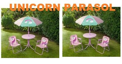 Kids 4 Piece Parasol UNICORN GARDEN PATIO SET with Chairs & Sunshade Table
