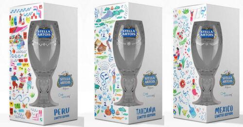 3 Stella Artois 2019 Limited Edition Chalices / Glasses - Mexico, Peru, Tanzania