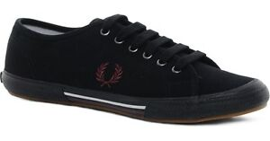 MENS FRED PERRY B3180 VINTAGE TENNIS CANVAS PLIMSOLL TRAINERS - SIZE 6 - BLACK.