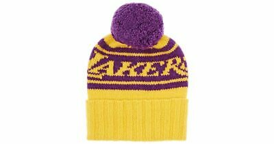 NEW WITH TAGS The Elder Statesman X NBA Lakers 100% Cashmere Pom-Pom Beanie $420