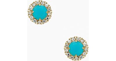 Kate Spade Secret Garden Earrings NWT Faceted Blue Gems w Crystal Accents