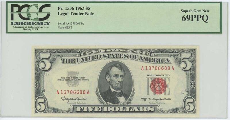 1963 $5 Legal Tender FR#1536 PCGS 69 PPQ Superb Gem