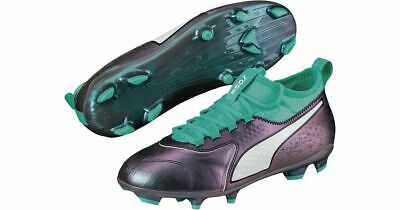 PUMA ONE Kid's 3 IL Leather FG Football Boots - Various Sizes - Grey/Mint - New