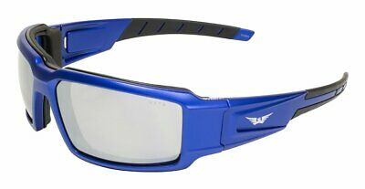 Global Vision Safety Motorcycle Sunglasses Metallic Blue Frame Flash Mirror (Cheap Motorcycle Sunglasses)