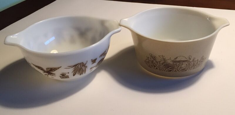 2 Pyrex Cinderella Bowls Early American (1.5 Pints) and Forest Fancies (1+ Qts)