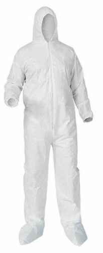Lakeland WHITE SPUN POLY COVERALLS WITH HOOD AND BOOTS, ELASTIC WRISTS, (25) PER