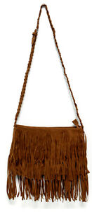 ac36B Celeb Style Vintage Hippie Boho Suede-like Fringed Shoulder Bag in Black