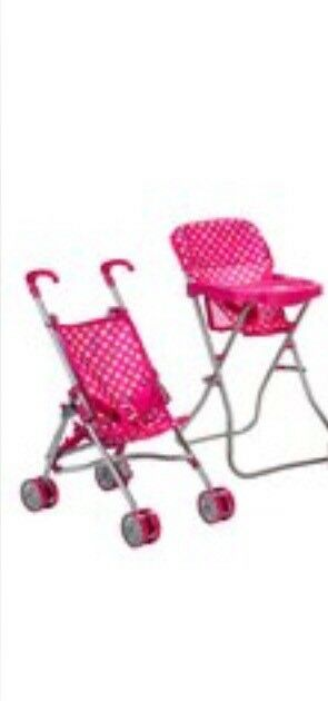 Dolls pushchair and highchair