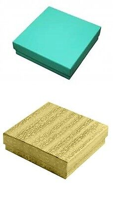 100 Gold 100 Teal Cotton Fill Jewelry Packaging Gift Boxes 3 12 X 3 12 X 1
