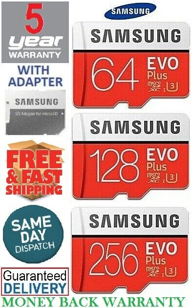 SAMSUNG EVO Plus Micro SD 64,128,256GB Class10 U3 Flash Memo