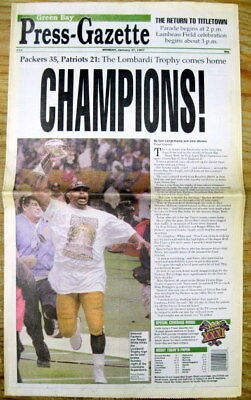 - Best 1997 newspaper GREEN BAY PACKERS win SUPER BOWL XXXI v New England Patriots