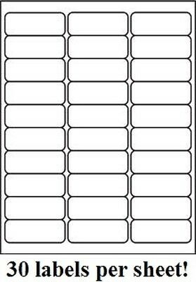 3000 Premium 2.625 X 1 Self Adhesive Address Labels 30 Per Sheet 30 Up