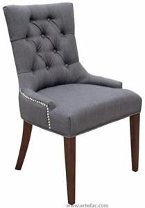 Grey Charcoal, Sand or Neutral Linen Fabric Accent Dining Chair w/Silver Nail Head