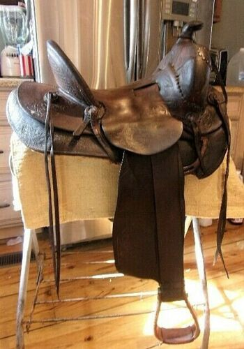 Miles City Antique Western Saddle High Back, Loop Back, by Charles Cogshall