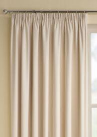 "Plain Cream Pencil Pleat thermal Curtains - 168cm x 137cm (66"" x 54"")"