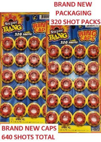 SUPER BANG 320 SHOT PACKS High Quality 8 Ring Caps 2 PACKS 640 TOTAL SHOTS