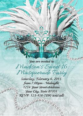Masquerade Ball Invitation, Sweet 16 Party, Teal, Quinceañera Invite