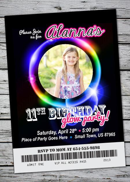 GLOW Birthday Party Invitation NEON Bracelet Neclace in the Dark w/ Photo 5x7