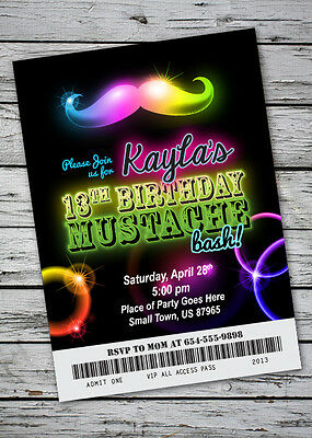Mustache Bash GLOW IN THE DARK THEME Birthday Party Invitation NEON Necklace